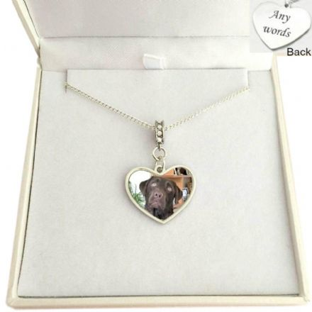 Pet Loss Necklace with Photo and Engraving